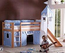 Hochbett ALEX Kinderbett mit Rutsche Spielbett Bett Natur Stoffset Blau/Boy