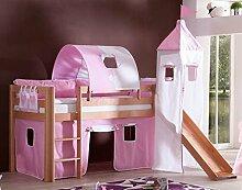 Hochbett ALEX Kinderbett mit Rutsche Spielbett Bett Natur Stoffset Rosa/Weiß