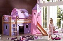 Hochbett ALEX Kinderbett mit Rutsche Spielbett Bett Natur Stoffset Lila/Rosa
