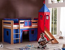 Hochbett ALEX Kinderbett mit Rutsche Spielbett Bett Natur Stoffset Blau/Ro