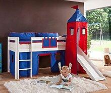 Hochbett ALEX Kinderbett mit Rutsche Spielbett Bett Weiß Stoffset Blau/Ro