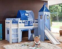 Hochbett ALEX Kinderbett mit Rutsche Spielbett Bett Weiß Stoffset Blau/Delfin