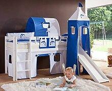 Hochbett ALEX Kinderbett mit Rutsche Spielbett Bett Weiß Stoffset Weiß/Delfin