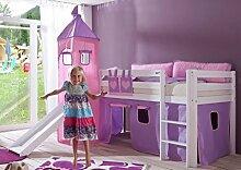 Hochbett ALEX Kinderbett mit Rutsche Spielbett Bett Weiß Stoffset Lila/Rosa