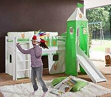 Hochbett ALEX Kinderbett mit Rutsche Spielbett Bett Weiß Stoffset Indianer