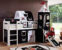 Hochbett ALEX Kinderbett mit Rutsche Spielbett Bett Weiß Stoffset Pira
