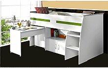 Hochbett Aljoscha weiß inklusive Schreibtisch + Kommode + Ablagefach + Lattenrostplatte Spielbett Kinderbett Jugendzimmer Kinderzimmer