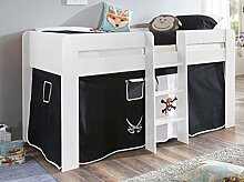 Hochbett ANDI 1 Kinderbett Spielbett halbhohes Bett Weiß Stoffset Pira