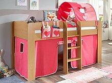 Hochbett ANDI 2 Kinderbett Spielbett halbhohes Bett Buche Stoffset Pink/Rosa