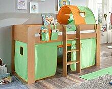 Hochbett ANDI 2 Kinderbett Spielbett halbhohes Bett Buche Stoffset Grün/Orange