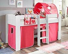 Hochbett ANDI 2 Kinderbett Spielbett halbhohes Bett Weiß Stoffset Pink/Rosa