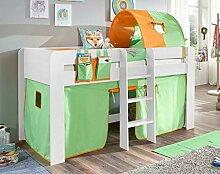 Hochbett ANDI 2 Kinderbett Spielbett halbhohes Bett Weiß Stoffset Grün/Orange