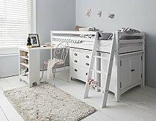 Hochbett dieses lackierte Bett Einzelbettgestell mit Schreibtisch, Kommode & Schrank weiß