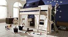 Hochbett Dreams, 90x200 cm, weiß mit Holzstruktur