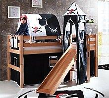 Hochbett ELIYAS Kinderbett mit Rutsche Spielbett Bett Natur Stoffset Pira