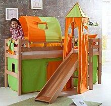 Hochbett ELIYAS Kinderbett mit Rutsche Spielbett Bett Natur Stoffset Grün/Orange