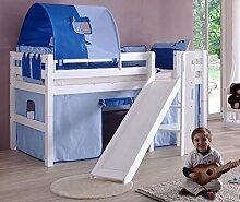 Hochbett ELIYAS Kinderbett mit Rutsche Spielbett Bett Weiß Stoffset Blau/Delfin