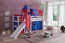Hochbett ELIYAS Kinderbett mit Rutsche Spielbett Bett Weiß Stoffset Blau/Ro