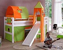 Hochbett ELIYAS Kinderbett mit Rutsche Spielbett Bett Weiß Stoffset Grün/Orange
