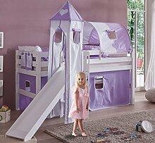 Hochbett ELIYAS Kinderbett mit Rutsche Spielbett Bett Weiß Stoffset Lila/Weiß