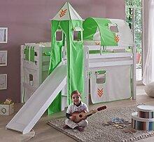 Hochbett ELIYAS Kinderbett mit Rutsche Spielbett Bett Weiß Stoffset Indianer