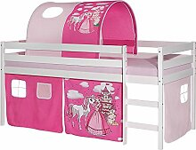 Hochbett ERIK Kinderbett Spielbett Etagenbett Stockbett Holzbett, Vorhang und Tunnel mit Motiv Prinzessin rosa, Kiefer massiv weiß lackiert, 90 x 200 cm
