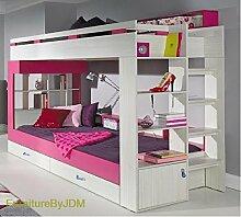 Hochbett / Etagenbett KOMI (Matratze nicht inbegriffen) mit Schubladen und Kombination von Regalen. Treppe hinten.