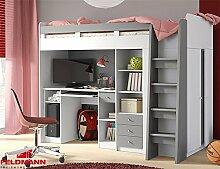 Hochbett Etagenbett mit Kleiderschrank und Schreibtisch 215145 weiß / alu