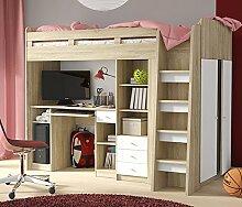 Hochbett Etagenbett mit Kleiderschrank und Schreibtisch 2151451 sonoma eiche / weiß
