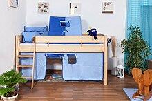 Hochbett für Kinder Buche Massivholz 90x200 cm - inkl. Rollros