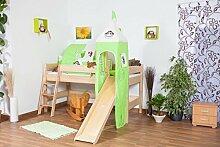Hochbett für Kinder mit Rutsche und Turm - Buche natur Massivholz 90x200 cm