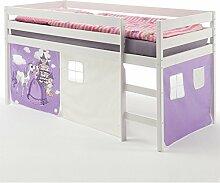Hochbett für Kinder Spielbett ERIK, Kiefer massiv, weiß lackiert mit Vorhangset Prinzessin 90 x 200 cm (B x L)