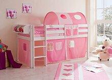 Hochbett für Mädchen Roas-Weiß