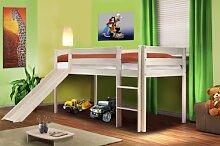 Hochbett Kinderbett Spielbett mit Rutsche Massiv Kiefer Weiß - SHB/1032