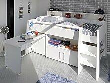 Hochbett, Kinderbett Sway 1A, 211x132x130cm weiß Kinderzimmer Bett Schreibtisch
