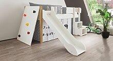 Hochbett Kletterwand, 90x160 cm, weiß deckend