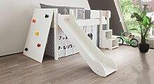 Hochbett Kletterwand, 90x160 cm, weiß