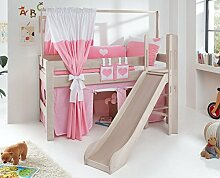 Hochbett LEO Kinderbett mit Rutsche Spielbett Bett Weiß Stoffset Rosa/Weiß/Herz