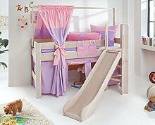 Hochbett LEO Kinderbett mit Rutsche Spielbett Bett Weiß Stoffset Lila/Rosa/Herz