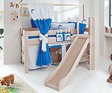 Hochbett LEO Kinderbett mit Rutsche Spielbett Bett