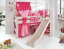 Hochbett LEO Kinderbett mit Rutsche Spielbett Bett Weiß Stoffset Pink/Herz