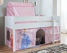 Hochbett LUKA 3 Kinderbett Spielbett halbhohes Bett Weiß Stoffset Cinderella