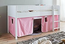 Hochbett LUKA 3 Kinderbett Spielbett halbhohes Bett Weiß Stoffset Rosa/Weiß