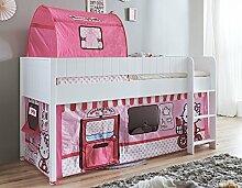 Hochbett LUKA 3 Kinderbett Spielbett halbhohes Bett Weiß Stoffset Hello Kitty