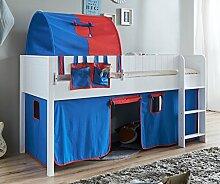 Hochbett LUKA 4 Kinderbett Spielbett halbhohes Bett Weiß Stoffset Blau/Ro