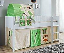 Hochbett LUKA 4 Kinderbett Spielbett halbhohes Bett Weiß Stoffset Dschungel
