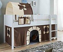 Hochbett LUKA 4 Kinderbett Spielbett halbhohes Bett Weiß Stoffset Burg