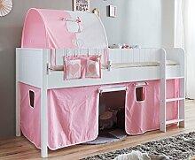 Hochbett LUKA 4 Kinderbett Spielbett halbhohes Bett Weiß Stoffset Rosa/Weiß