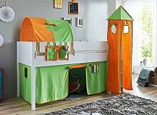 Hochbett LUKA 5 Kinderbett Spielbett halbhohes Bett Weiß Stoffset Grün/Orange