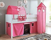 Hochbett LUKA 5 Kinderbett Spielbett halbhohes Bett Weiß Stoffset Pink/Rosa